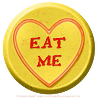Eat Me text on Love Heart sweet free image for texting