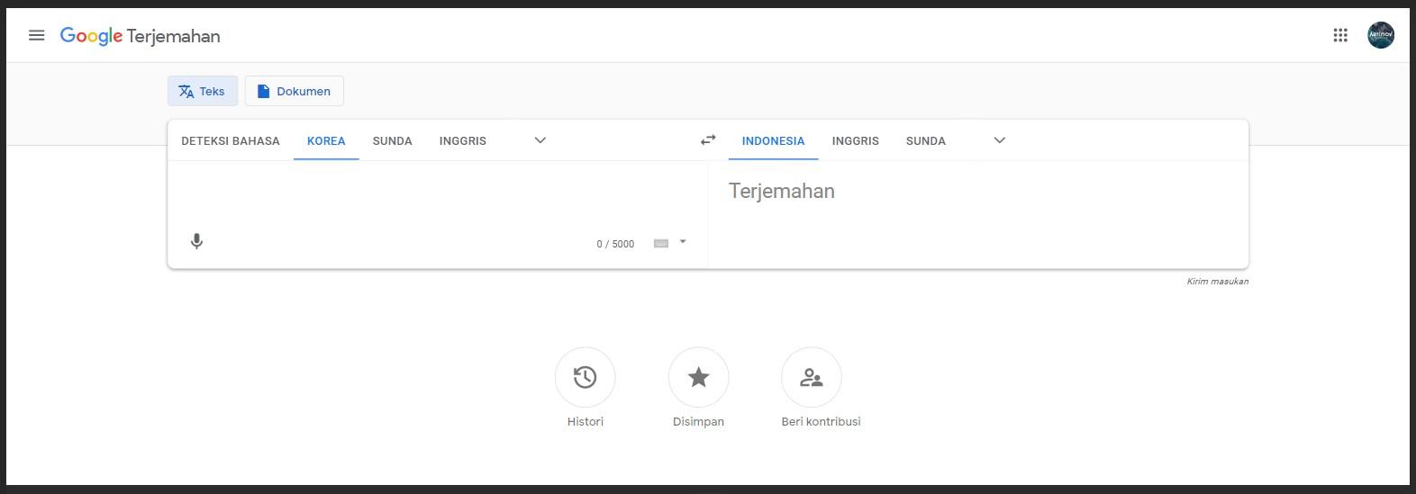 Google translate bahasa Korea-Indonesia