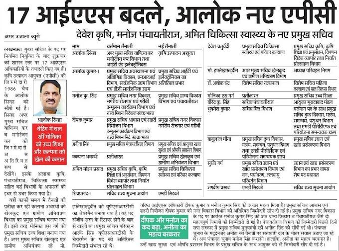 Lucknow- यूपी में 17 आईएएस अफसरों के तबादले, देखें सूची