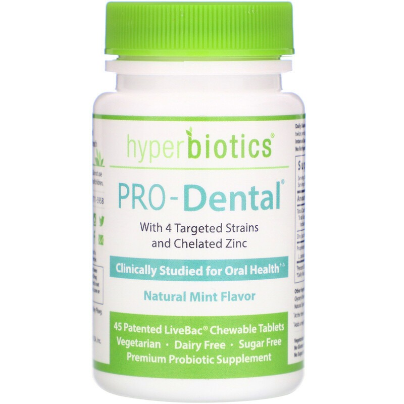 Hyperbiotics, PRO-Dental, натуральный мятный вкус, 45 запатентованных жевательных таблеток LiveBac