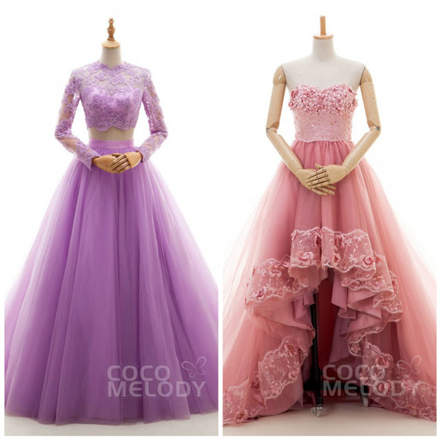 spring wedding dress pink purple