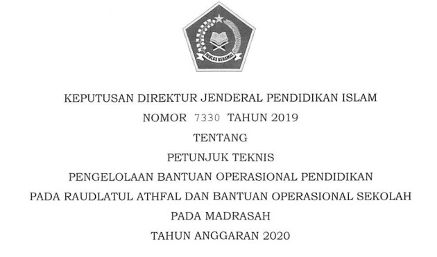 Download Juknis BOS Madrasah 2020 (MI MTs dan MA)