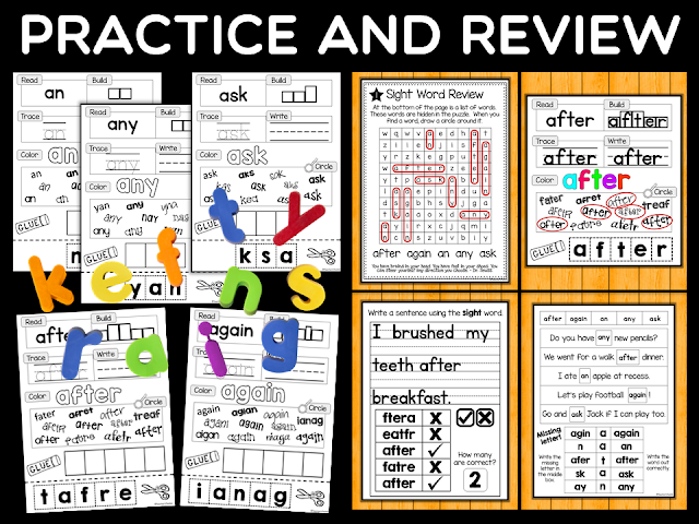 Preview of Dolch Sight Words Practice and Review Worksheets for first grade