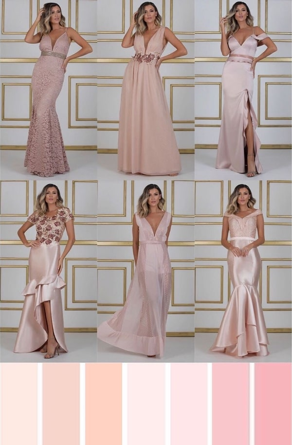 paleta vestido rose para madrinha de casamento