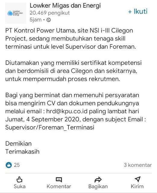 Lowongan Kerja Supervisor & Foreman PT. Kontrol Power Utama Cilegon