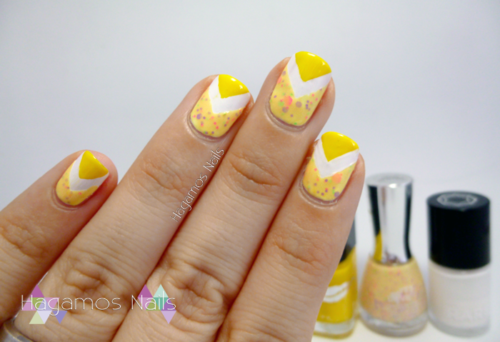 Nail Art Chevron amarillo. #RetoColoresCosasdeChicas2. Hagamos Nails