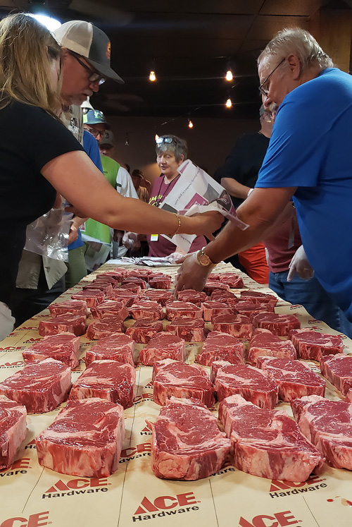 Teams picking their Certified Angus Beef Ribeye Steaks at the 2019 Praise The Lard BBQ Contest SCA Steak Cookoff