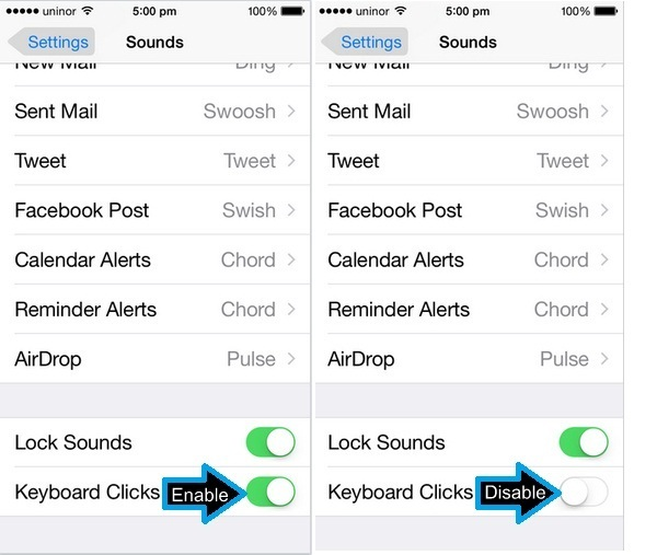 How to turn off keyboard clicks on iphone   How to Turn On and Off