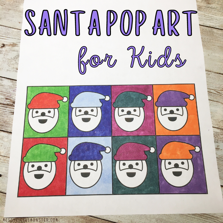 Santa pop art for kids
