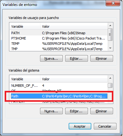 Variables del sistema en Windows