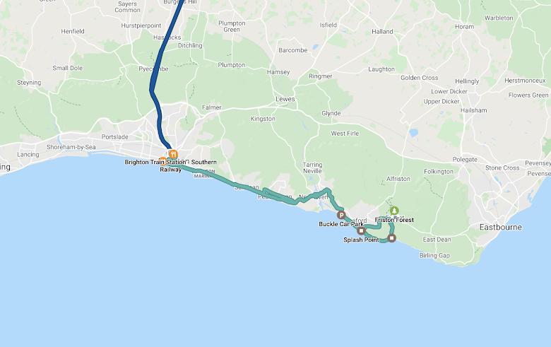 布萊頓與七姊妹往返的單車路線,總長 65.98 公里