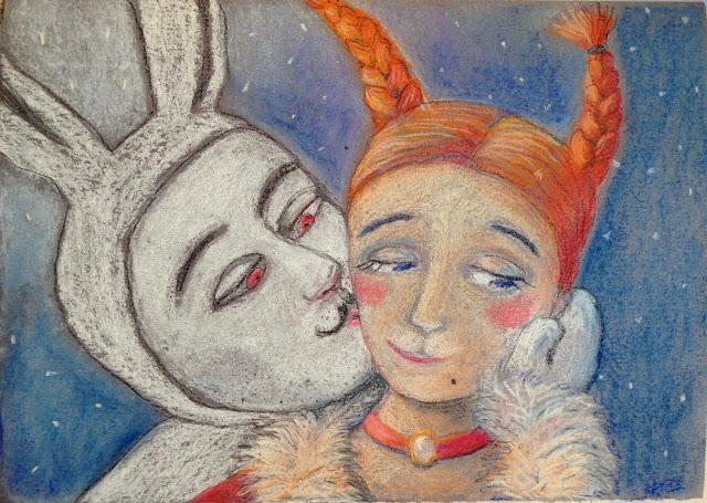 #AideLL #Aide #Leit-Lepmets #white #rabbit #orange pigtail #kiss art #illstration #snow