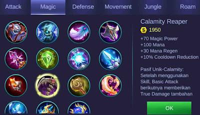 Calamity Reaper adalah item penambah magic power Gusion
