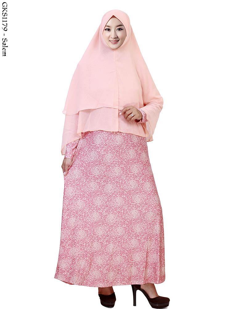 Gamis Bahan Kaos Kombinasi Batik Hijab Nemo