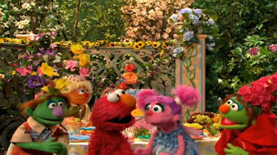 Elmo, Abby Cadabby, Hansel and Gretel at Little Red Riding Hood's birthday party. Sesame Street Elmo and Abby's Birthday Fun