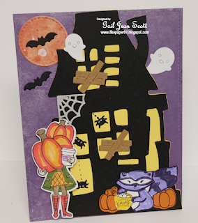 Gail's card features Camping Tails and Pumpkin Latte by Newton's Nook Designs; #inkypaws, #newtonsnook, #cardmaking, #halloweencards