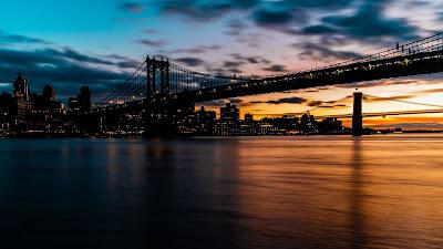 Free wallpaper Sunset Bridge, Sea, buildings