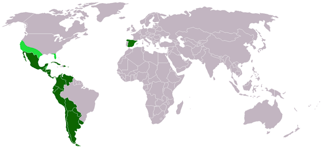 A map showing the Spanish-speaking countries of the world in green, including Spain and much of Central and South America.