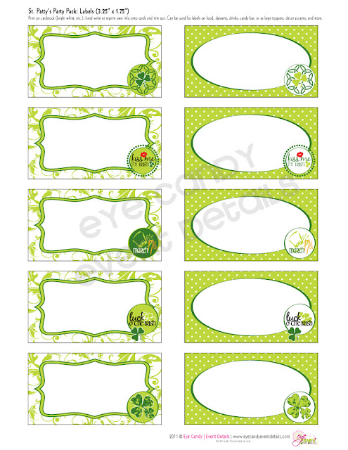 st patty's day labels, luck o the Irish, st patty's day printables, lucky