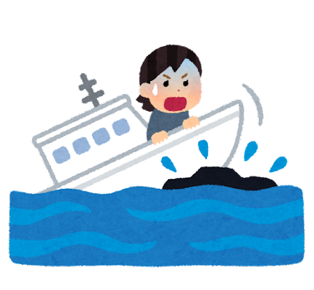 暗礁に乗り上げる人のイラスト(女性)