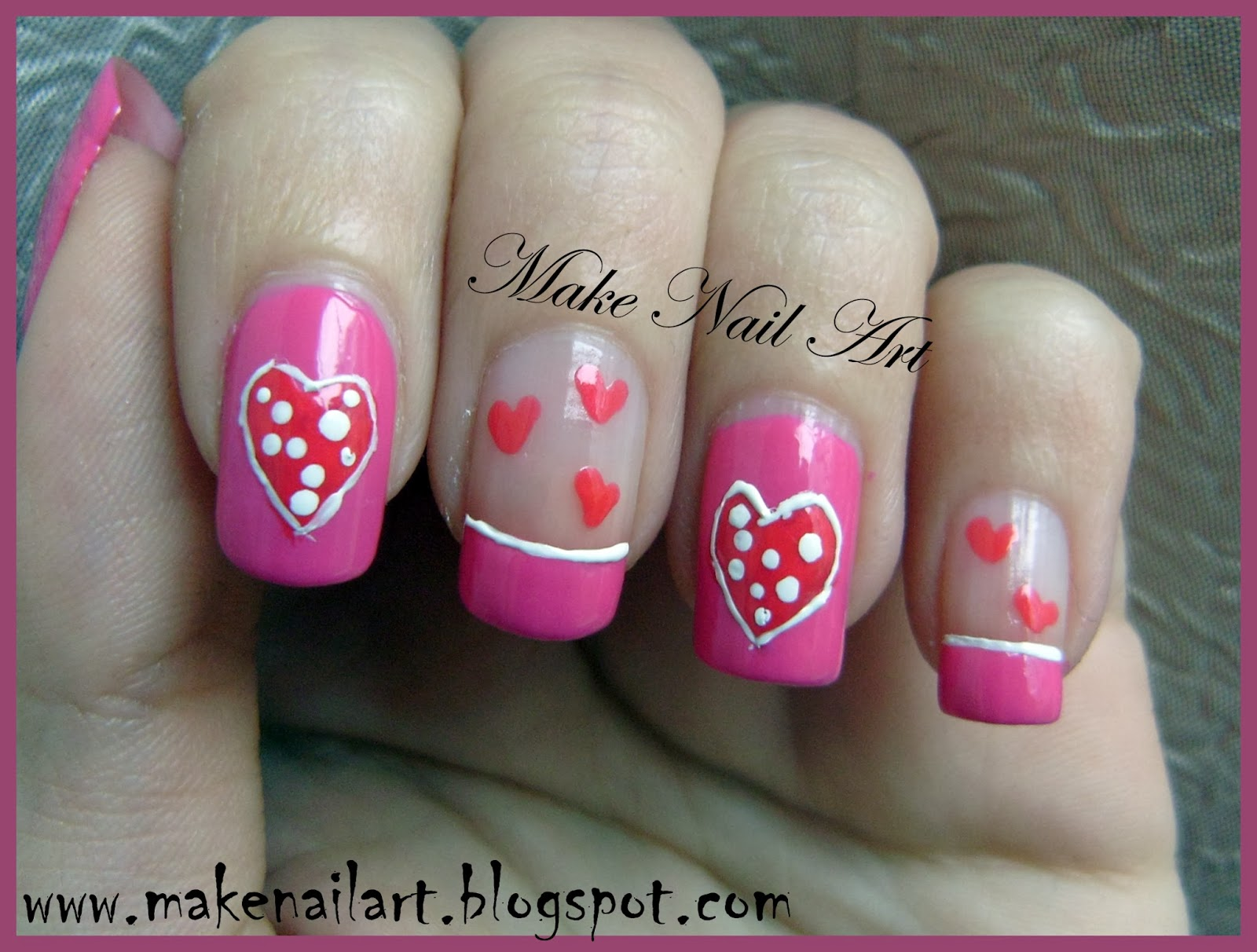 Make Nail Art Easy Nail Art Design With Hearts For Valentines Day