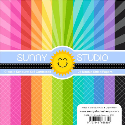 Sunny Studio Stamps Classic Sunburst Sunray Sun Ray & Diagonal Grid 24 sheet Double Sided 6x6 Patterned Paper Pad