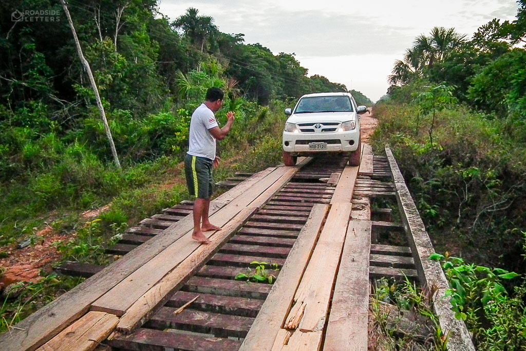 Wooden bridge on federal road BR-319 in Brazilian Amazon