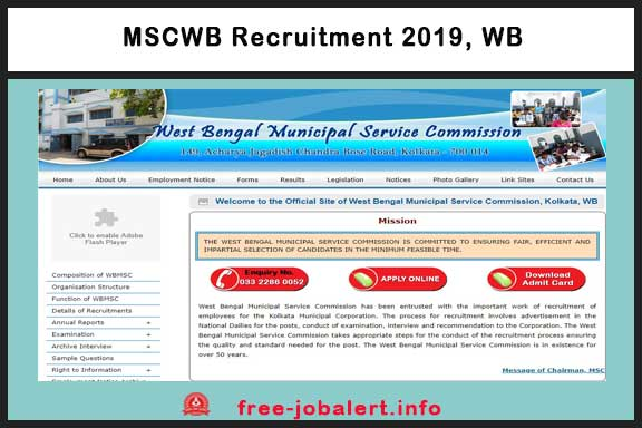 MSCWB Recruitment 2019: Municipal Service Commission West Bengal, appointment for the post of 150 Junior Engineer