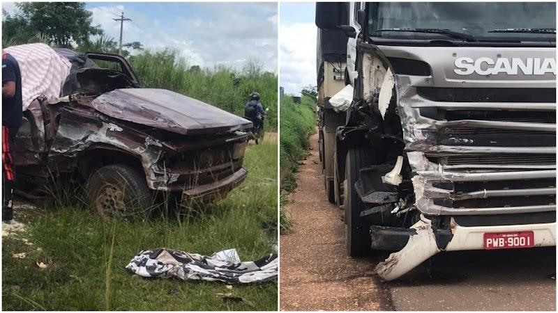 Mulher morre em colisão entre caminhonete e carreta em BR no Maranhão.