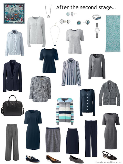 a seventeen-piece work wardrobe in navy, grey and shades of green