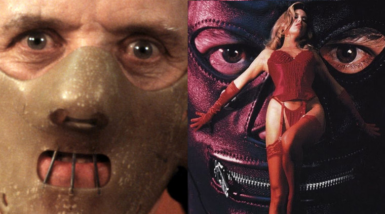Links: Anthony Hopkins als Hannibal Lecter in DAS SCHWEIGEN DER LÄMMER (1991). Quelle: Orion/MGM. Rechts: Zipperface in ZIPPERFACE (1992). Quelle: Shiman Productions.