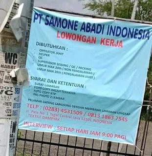 Loker PT Samone Abadi Indonesia Tegal