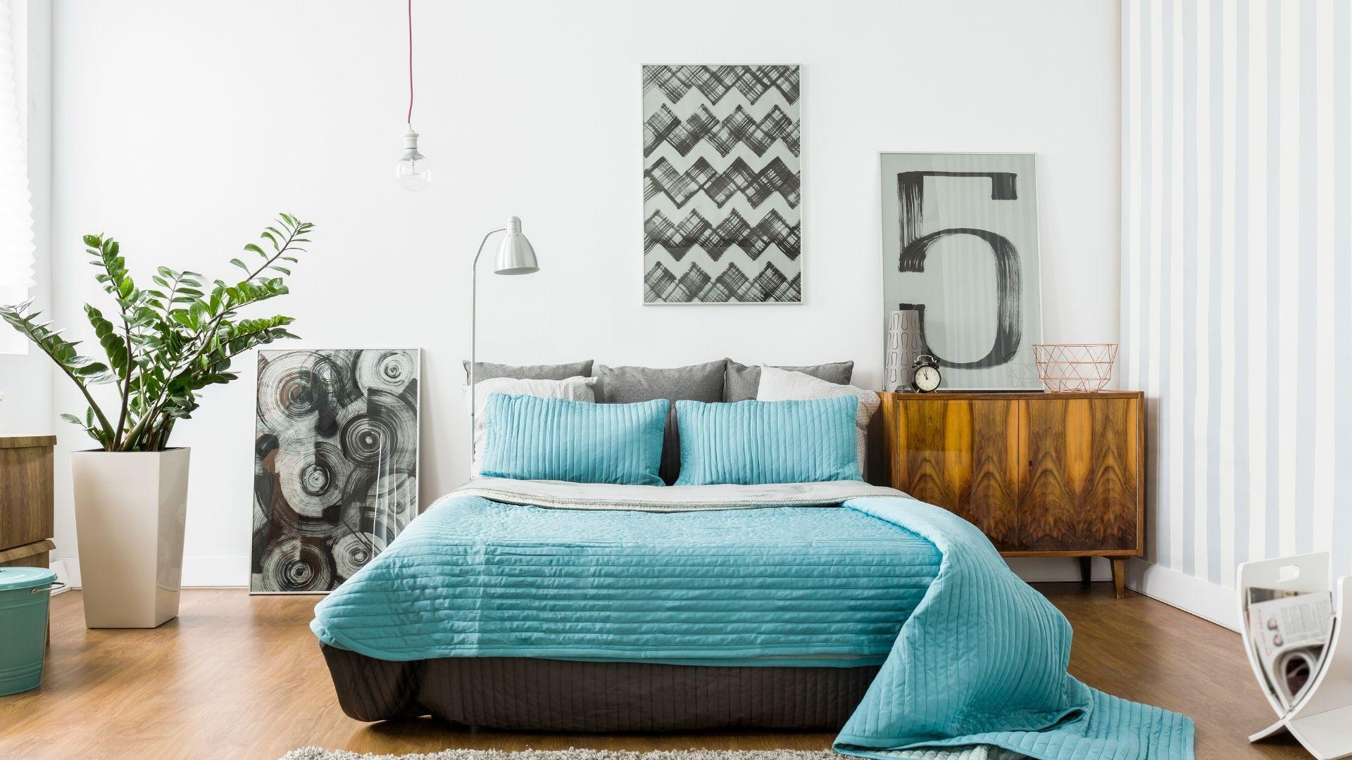 turkusowa sypialnia inspiracje