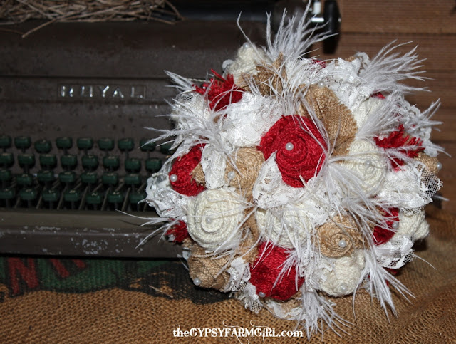 fabric bouquet with feathers