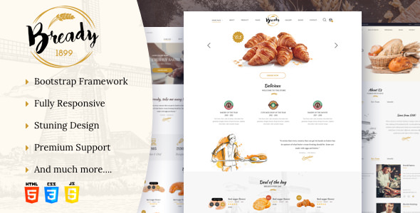 Bready Perfectly Fits Trendy Cakery Bakery Website With A Strong Sweet And Elegant Style It Embos Sensible Design Product Centered Layout To