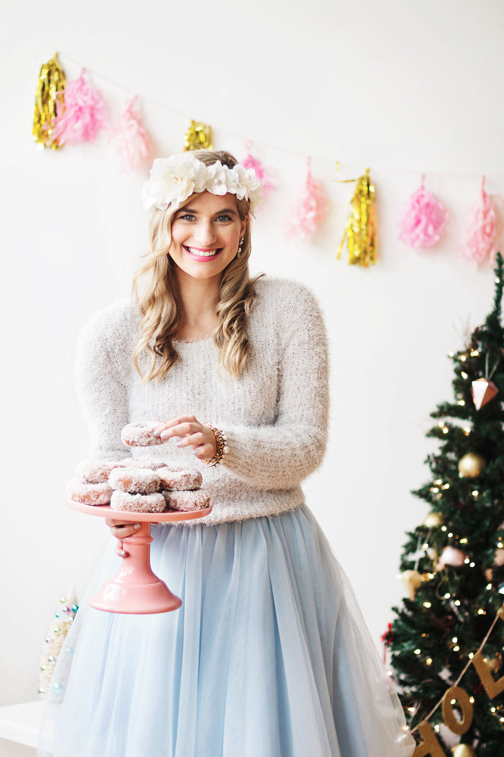 Whimsical, holiday photoshoot. Tulle skirts, floral crowns and holiday decor | Bijuleni
