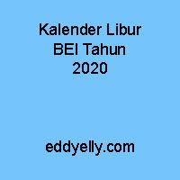 Kalender Libur Bursa Efek Indonesia Tahun 2020