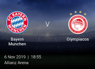 LIVE MATCH: Bayern Munchen Vs Olympiacos UEFA Champions League 06/11/2019