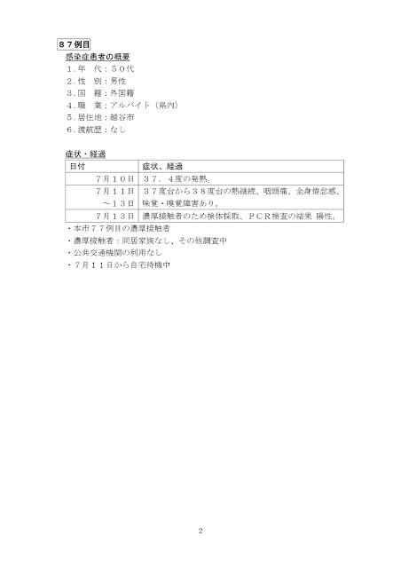 新型コロナウイルス感染症患者の発生について(7月14日発表)