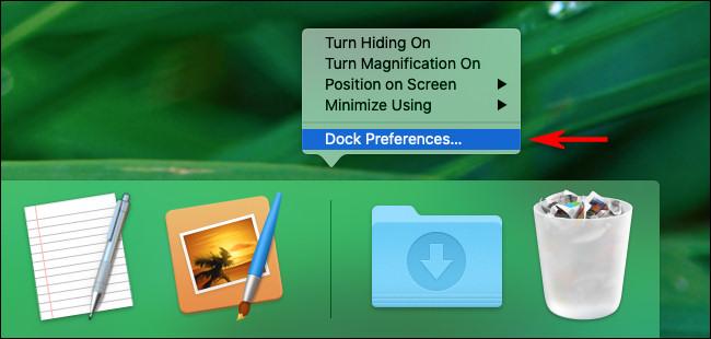 """في نظام Mac ، انقر بزر الماوس الأيمن على Dock وحدد """"Dock Preferences"""""""