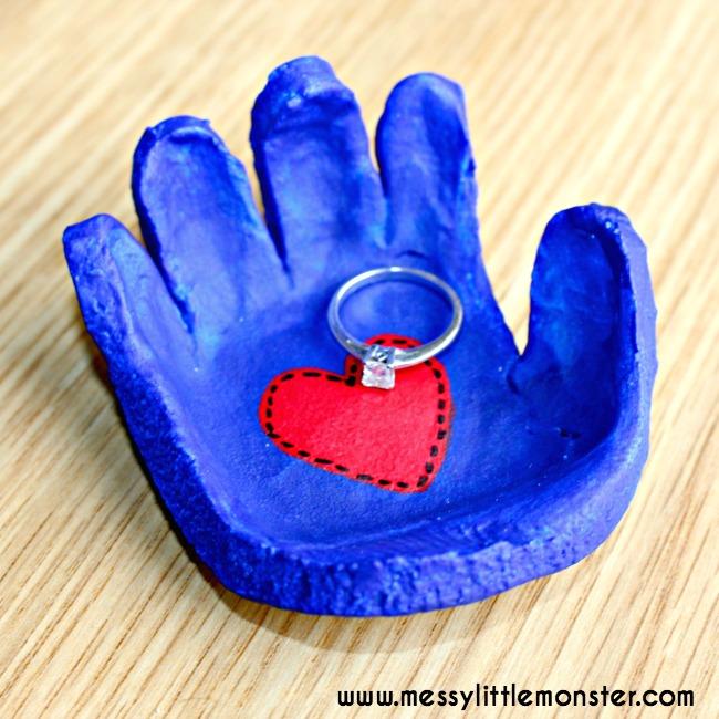 salt dough handprint heart jewelry holder craft