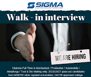 Walk-In Interviews For Diploma Trainees (DET) Male & Female in Sigma Electric Manufacturing Corp. Pvt. Ltd. Pune, Maharashtra