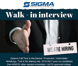 Sigma Electric Manufacturing Corporation Pvt Ltd Walk-In Interview of Diploma Holders  or B.Sc or Position Diploma Engineer Trainee |Apply Online