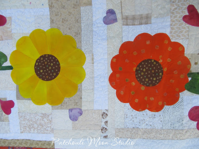 closeup of yellow and orange Dresden Plate Sunflowers