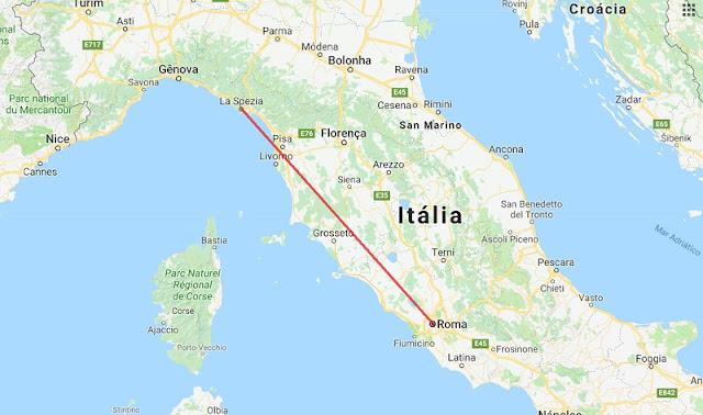 Mapa da viagem de La Spezia a Roma