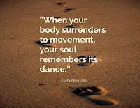 Footsteps in sand with Gabriel Roth's quote when your body surrenders to movement your soul remembers its dance