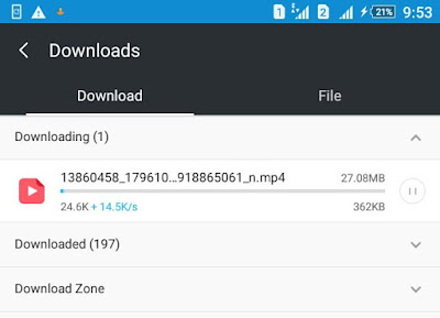 UC Browser downloading