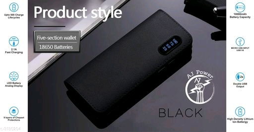 Aj Power P2 Leather-10000mah Power Bank ( Black )