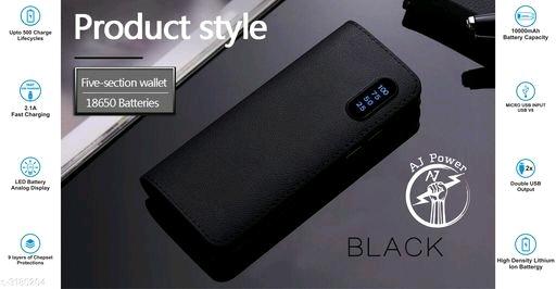 Aj Power P2 Leather-10000mah Power Bank ( Black )