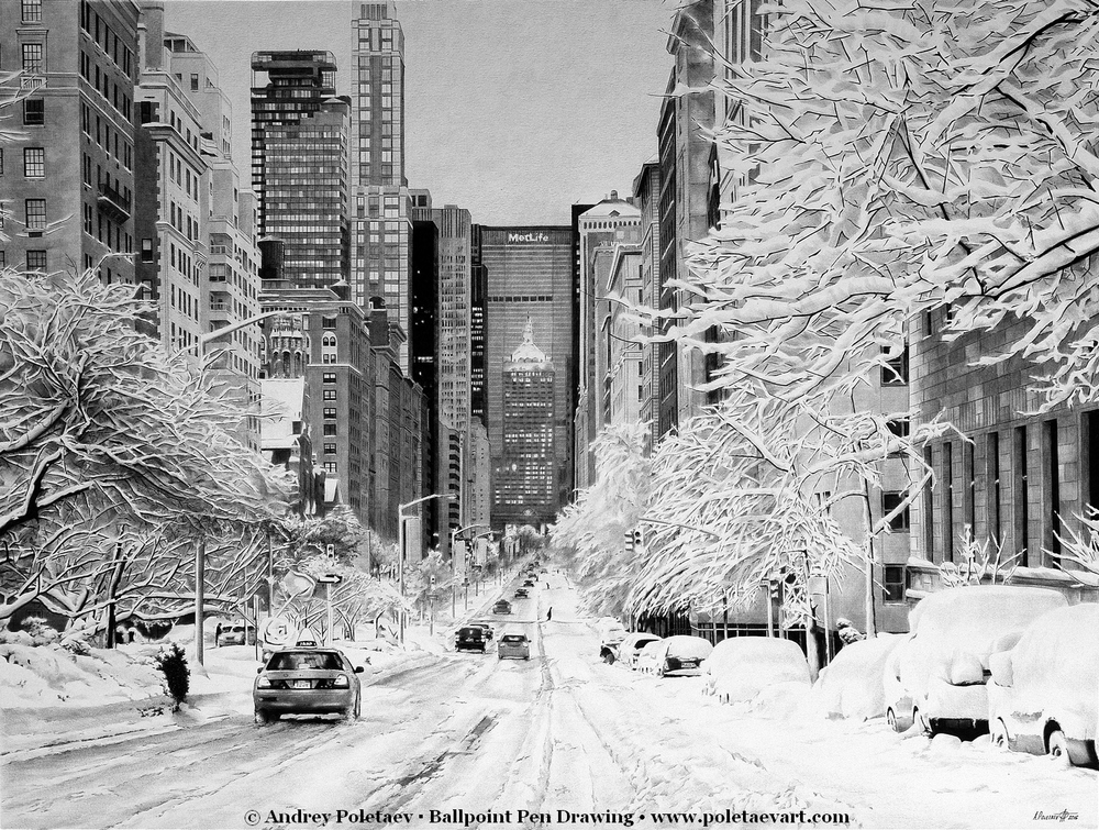 12-Snowy-New-York-Andrey-Poletaev-Capturing-Architecture-with-Ballpoint-Pen-Drawings-www-designstack-co